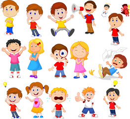 Cartoon kids with different expression