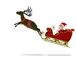 Santa  is taking off  with his reindeer on transparent background.