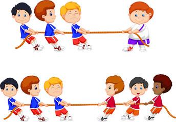 Cartoon group of children playing tug of war