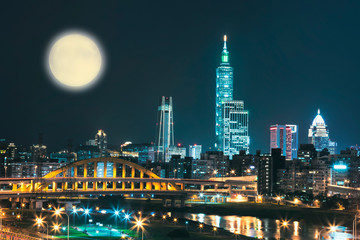 Night scenery of Taipei City with view of skyscrapers in downtown area, arch Bridges over Keelung River, Taiwan