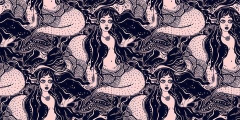 Ocean mermaid girl long hair seamless pattern.