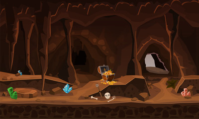 Treasure cave with chest gold coins, gems. Concept, art for computer game. Background image to use games, apps, banners, graphics. Vector cartoon illustration