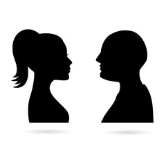 Black Male and female silhouettes opposite each other