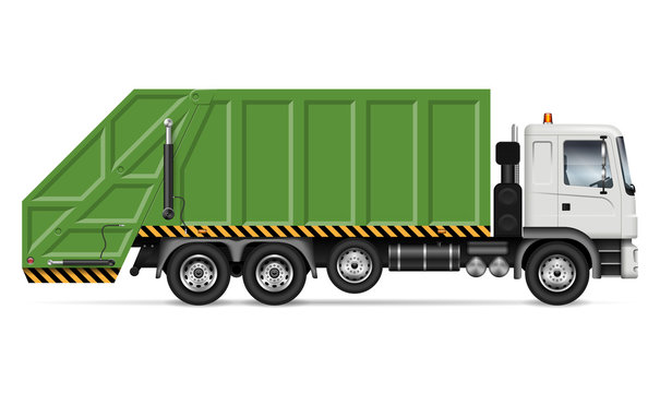 Realistic garbage truck vector mockup. Isolated template of dump lorry on white background for vehicle branding, corporate identity. View from right side, easy editing and recolor.