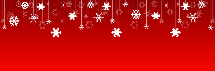 Weihnachten, rotes Banner mit Schneeflocken Wall mural