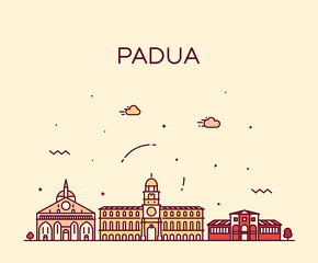 Wall Mural - Padua skyline Italy vector linear style city