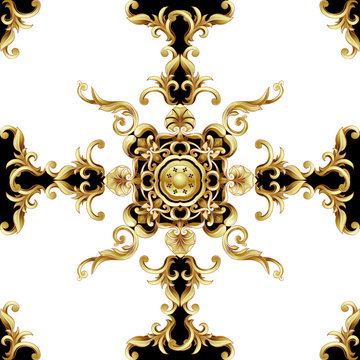 Seamless pattern  with golden baroque elements. Vector illustration.