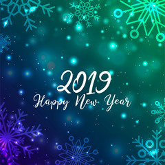 New Year. 2019. Christmas. Christmas decorations. Background. Bright colorful design. Shine Bokeh. For your card design.