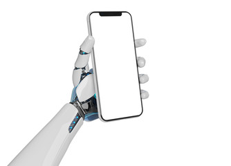 White robot hand holding smartphone mockup 3d rendering
