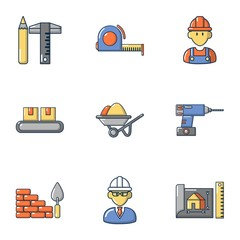 Proficient icons set. Cartoon set of 9 proficient vector icons for web isolated on white background