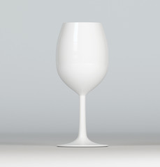 White wine glass on grey background, mockup, 3d render.