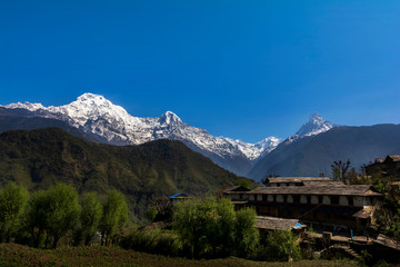 View of Annapurna Mountains ranges in Nepal.