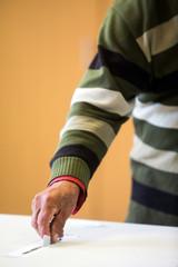 Person voting, casting a ballot