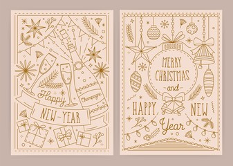 Set of Christmas and New Year greeting card templates with traditional festive decorations drawn in linear style - bells, baubles, clinking glasses, light garlands. Monochrome vector illustration.
