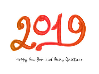 2019 New Year of a colorful brushstroke oil paint lettering calligraphy design element.
