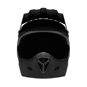 Sport Motorcycle Full Face Helmet. Front view. Sport equipment. Black matte color. 3D render Illustration Isolated on white background.