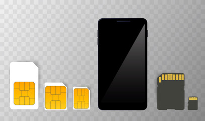 Sim Card mobile Cellular Phone Chip. Vector Isolated on Background eps10