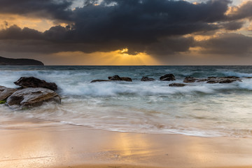 Sunrise Seascape with Heavy Clouds