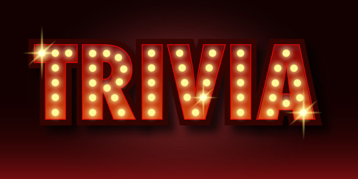 Trivia night announcement poster. Vintage styled light bulb box letters shining on dark background. Questions team game for intelligent people. Vector illustration, glowing electric sign in retro styl