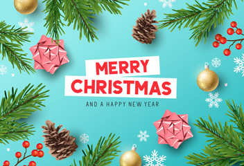 Vector Christmas Decorations Composition Background