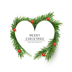 A heart shaped Christmas frame made with fir branches and red berries. Flat lay vector illustration