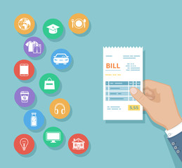 Bill in man hand. Set of service icons. Shopping, check, receipt, invoice, order. Paying bills. Payment of goods, services, utility, restaurant, products. Vector
