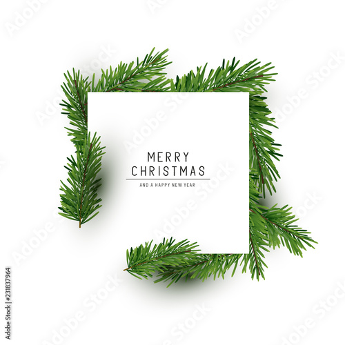 A Christmas Square Shaped Layout Background With Fir Branches