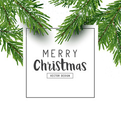 Festive Christmas design layout composition with fir tree branches and falling snow. Top view Vector illustration.