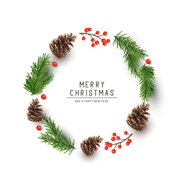 A round shaped Christmas frame made with fir branches, pine cones and red berries. Flat lay vector illustration