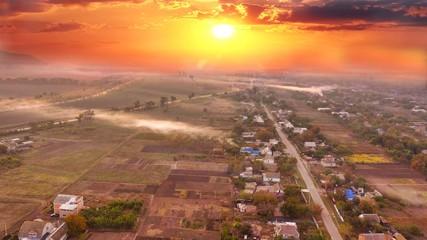 Village Arial Sunset