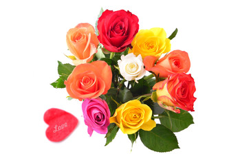 Roses and heart for love. Valentines day flowers.