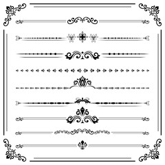 Vintage set of decorative elements. Horizontal separators in the frame. Collection of different ornaments. Classic black patterns. Set of vintage patterns
