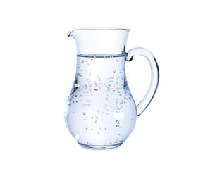 Jug with cold fresh water on white background