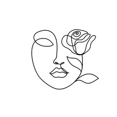 Abstract beauty woman face with rose. Continuous line drawing