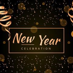 Elegant New Year card with shining gold ribbon. Vector illustration.
