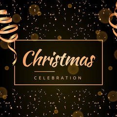 Elegant Christmas card with shining gold ribbon. Vector illustration.