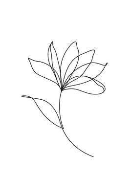 Lotus flower line art. Minimalist icon, logo, label