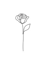 Abstract rose line drawing logo. Continuous line. Minimalist art.