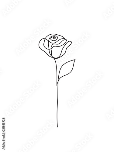 Quot Abstract Rose Line Drawing Logo Continuous Line Minimalist Art Quot Stock Photo And Royalty Free