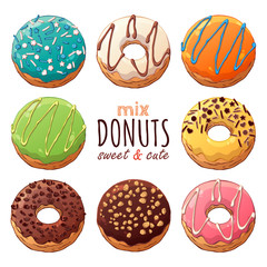 Group of vector colorful illustrations on the sweets theme; set of different kinds of glazed donuts decorated with toppings, chocolate, nuts. Realistic isolated objects for your design.