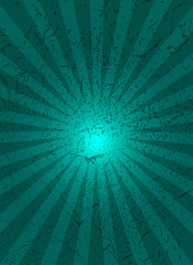 Green background with center rays, grunge texture.