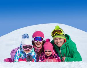 family on winter resort