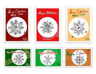 Illustration Hand Drawn Sketch of Various Style of Snowflakes in Different Shapes and Forms Isolated on White Background, Sign for Start Christmas Celebration.