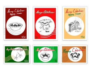 Merry Xmas, Post Stamps Set of Illustration Hand Drawn Sketch of Various Style of Mince Pies, Manger and Fireplace. Sign for Start Christmas Celebration.