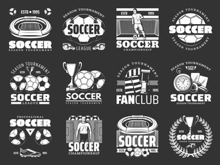 Soccer game sport items and players icons