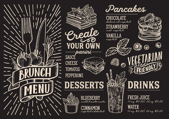 Brunch menu food template for restaurant with doodle hand-drawn graphic.