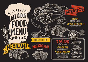 Mexican food menu template for restaurant with chefs hat lettering.