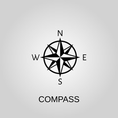 Compass icon. Compass symbol. Flat design. Stock - Vector illustration.