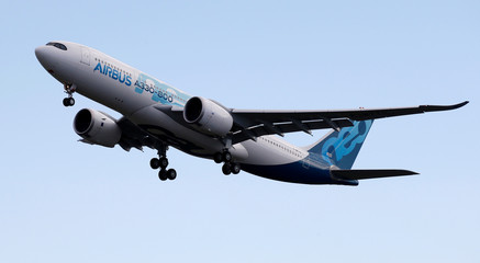 An Airbus A330-800 aircraft takes off during a flight event presentation in Colomiers near Toulouse