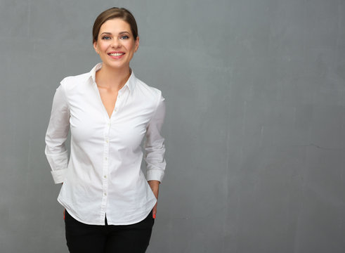 Business woman dressed white shirt